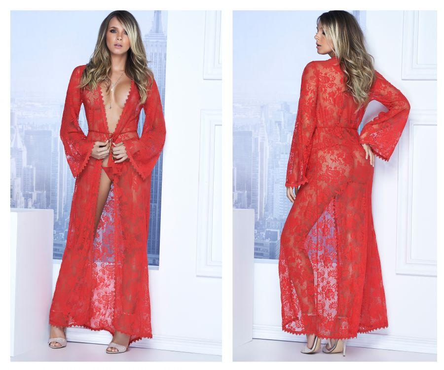 Mapale Long Lace Robe with tassel belt and G-String