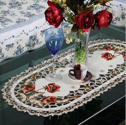 Embroidered Floral Cutwork Table Cloth