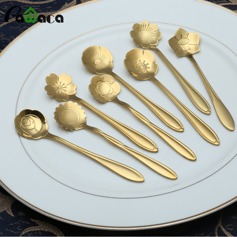 Flower Shape Stainless Steel Tea Coffee Spoon