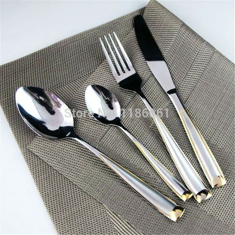 New 24Pcs Stainless Steel Gold Flat ware Sets