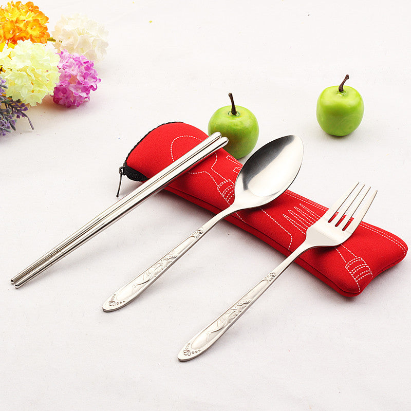 Fork Spoon Travel Picnic Stainless Steel Cutlery Portable Camping
