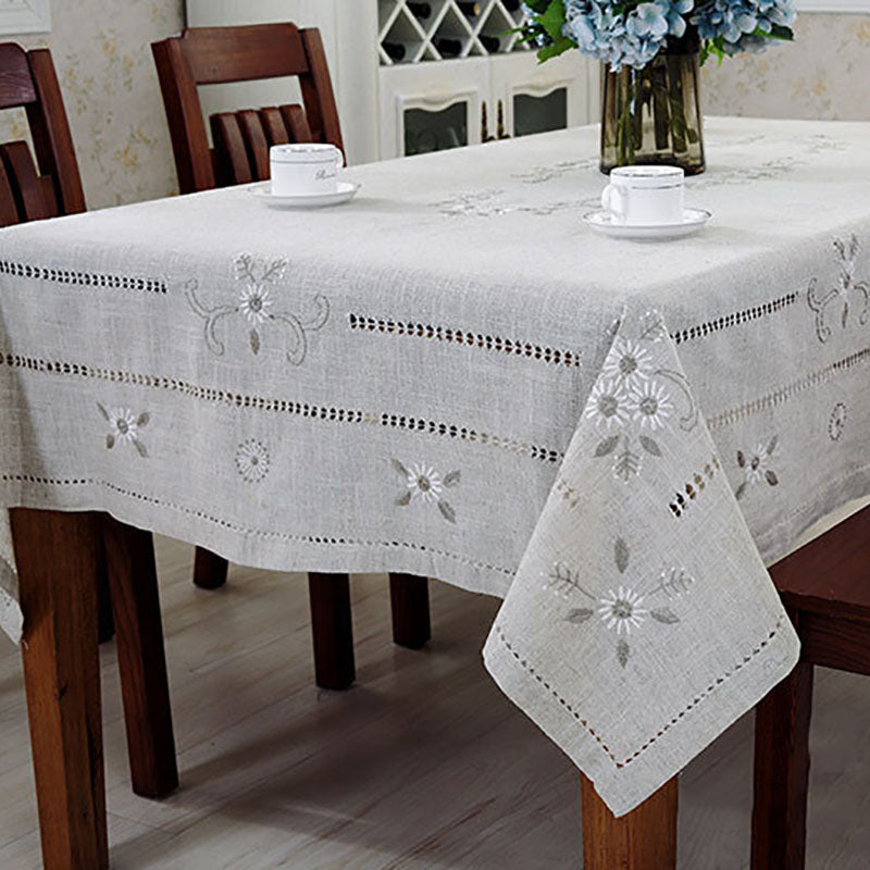 Linen Table Cloth Woven Printed