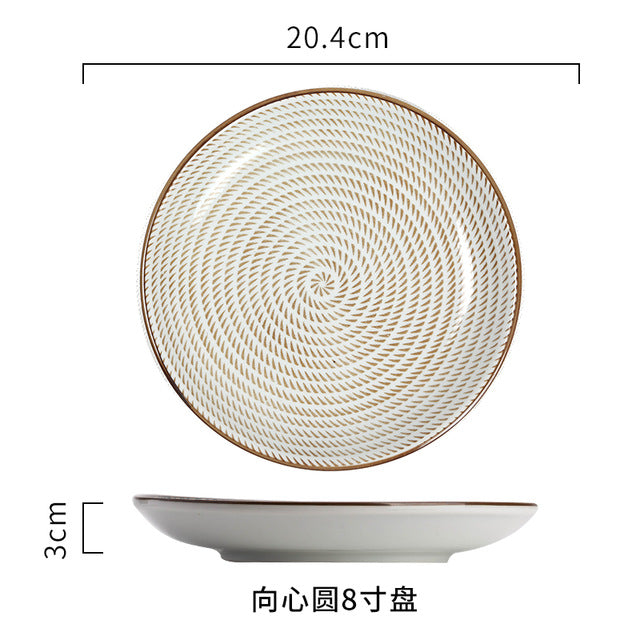 Japanese Traditional Style Ceramic Dinner Plates