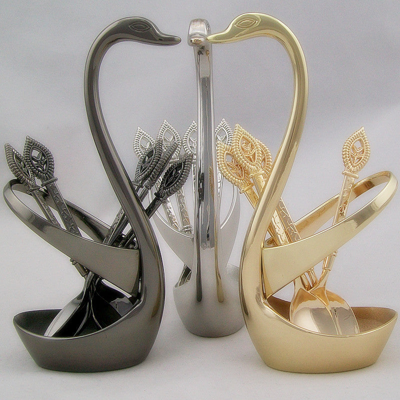 Free Shiping Stainless Swan Shaped Dinnerware Set