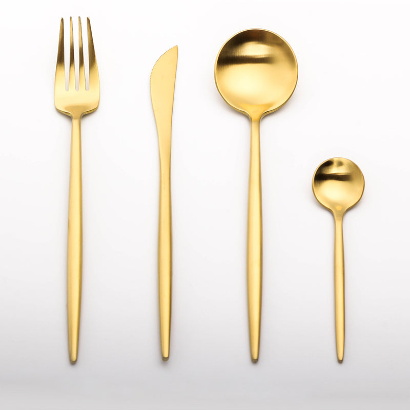 Stainless Steel Dinnerware Set Gold Cutlery Set
