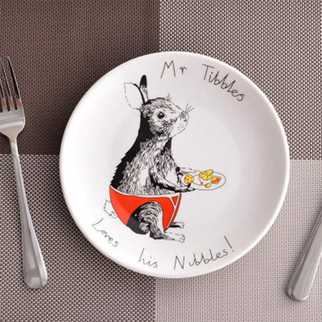 European Style 8inch Bone China Ceramic Flat Plates Cartoon