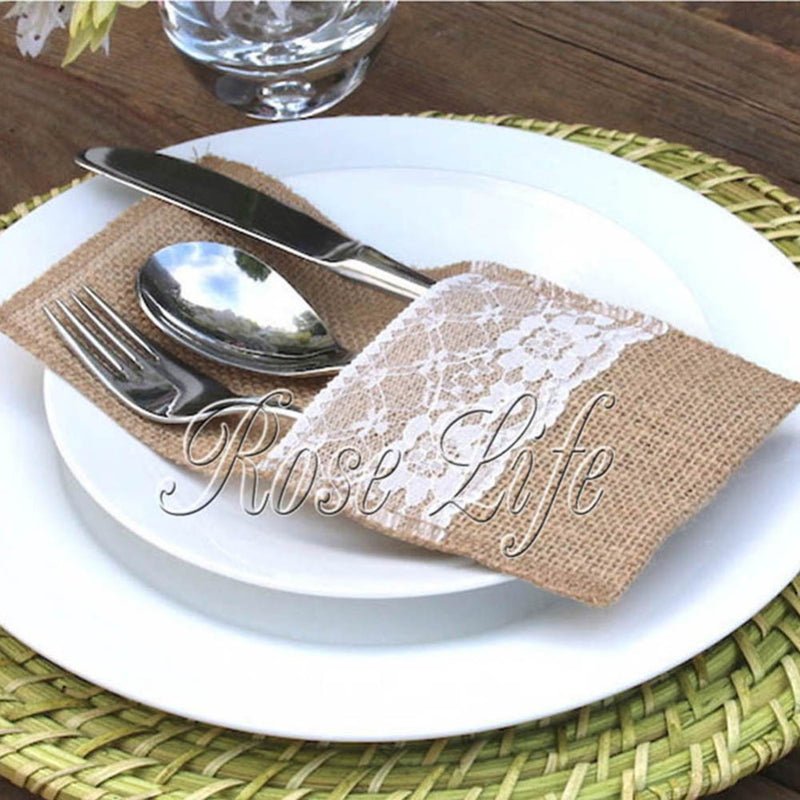 Hessian Burlap Lace Wedding Tableware Pouch Cutlery Holder