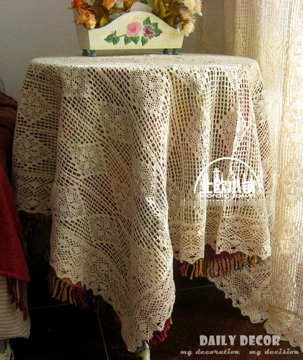 100% cotton handmade openwork tablecloths