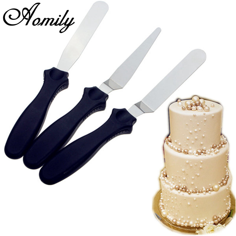 Aomily 3pcs/Set DIY Cake Cream Spread Decorating Scraper