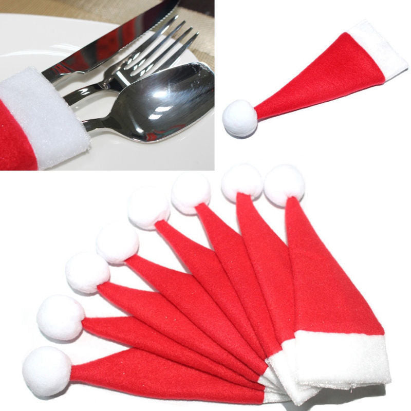 Christmas Hat Silverware Holder Mini Red Santa Claus Cutlery