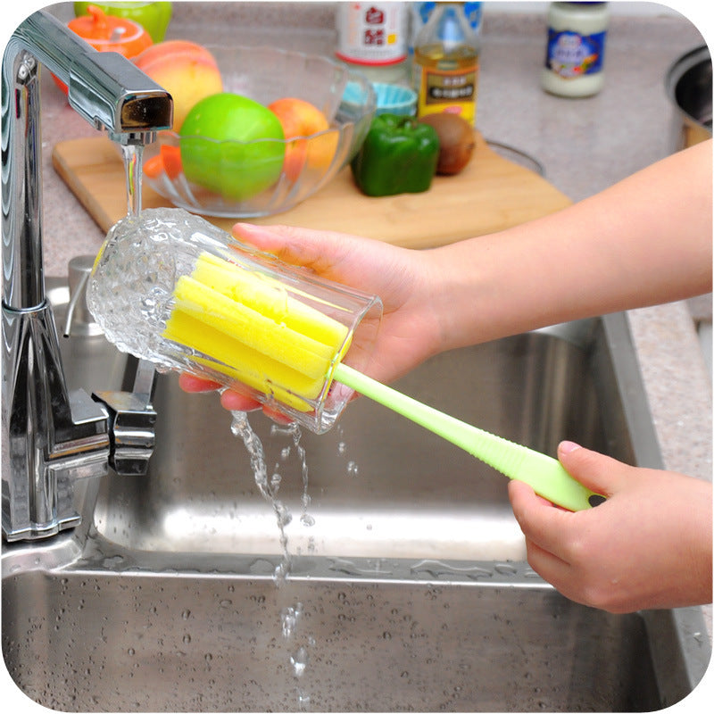 1 Piece Simple Durable Colorful Sponge Cleaning Brush Glasses Cups Milk Bottles Cleaning Brushes Kitchen Accessories
