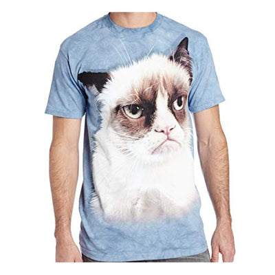 Grumpy Cat Tie Dye T-Shirt (Blue) - Label U.S 2XL (Fits AUST 3XL)