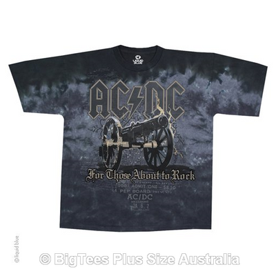 ACDC Cannon Tie Dye Rock T-Shirt - Label U.S 6XL (Fits AUST 11XL)