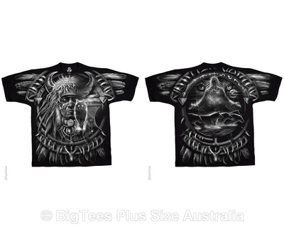 Wolf Dreamcatcher Double-Sided T-Shirt - U.S 2XL (Fits AUST 4XL)