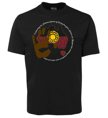 Acknowledgement of Country Aboriginal Flag T-Shirt (Black)