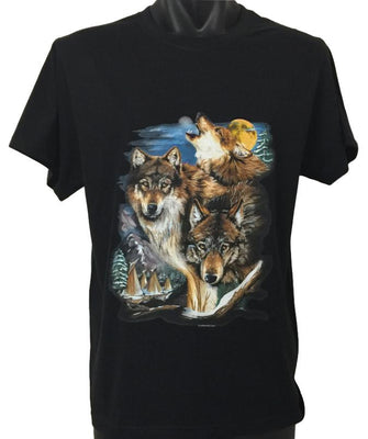 Native American Wolves and Village T-Shirt (Regular and Big Sizes)