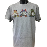 Three Wise Frogs T-Shirt (Grey, Regular and Big Sizes)