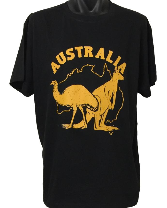 Kangaroo & Emu T-Shirt (Black, Regular and Big Sizes)