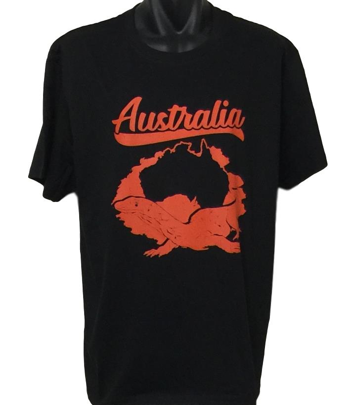 Australian Goanna T-Shirt (Black, Regular and Big Sizes)