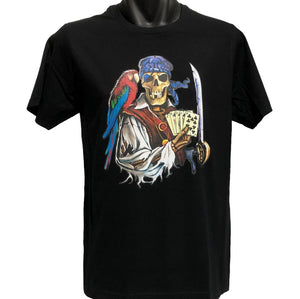 Dead Man's Hand Skeleton Pirate T-Shirt (Black, Regular and Big Sizes)