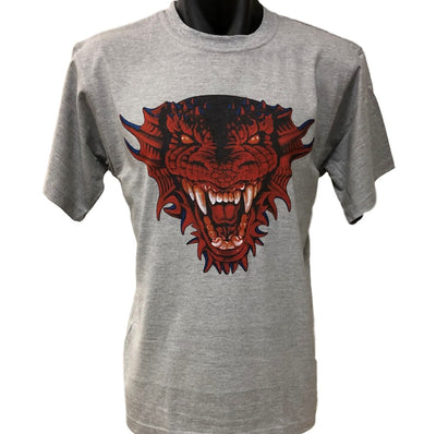 Red Dragon Face T-Shirt (Marle Grey, Regular and Big Sizes)