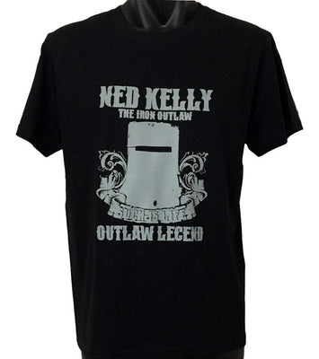 Ned Kelly Iron Outlaw T-Shirt (Grey Print, Regular and Big Sizes)