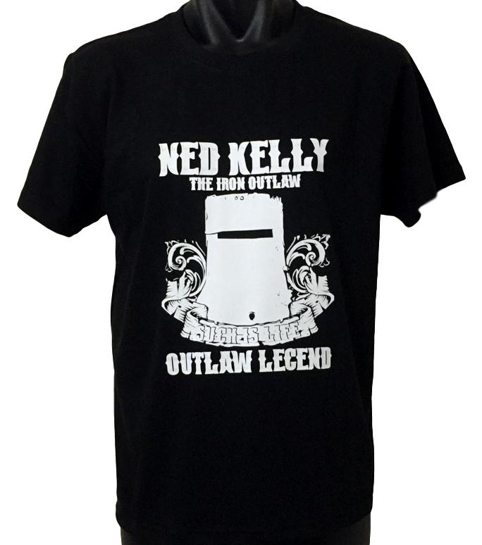 Ned Kelly Iron Outlaw T-Shirt (White Print, Regular and Big Sizes)