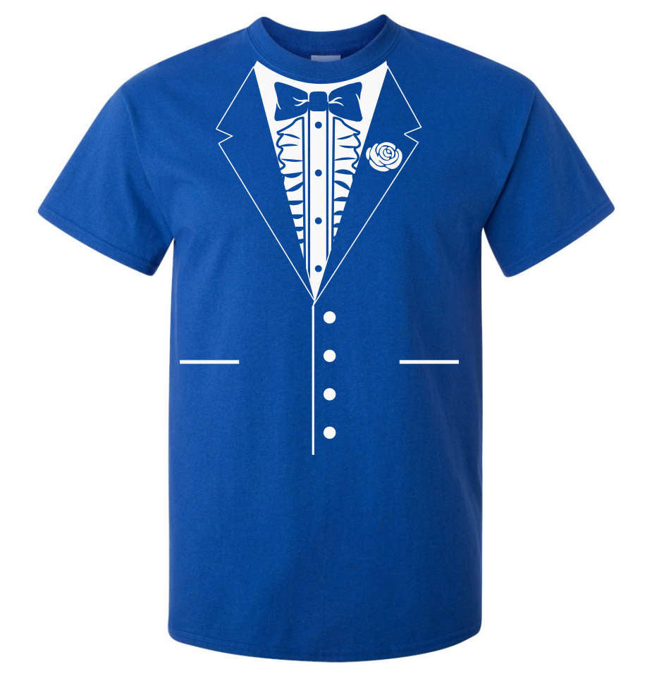 b05e72f0c Bow Tie Tuxedo T-Shirt (Royal Blue, Regular and Big Mens Sizes ...