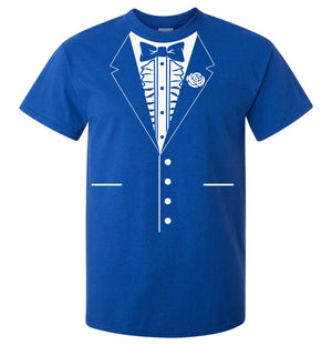 Bow Tie Tuxedo T-Shirt (Royal Blue, Regular and Big Mens Sizes)