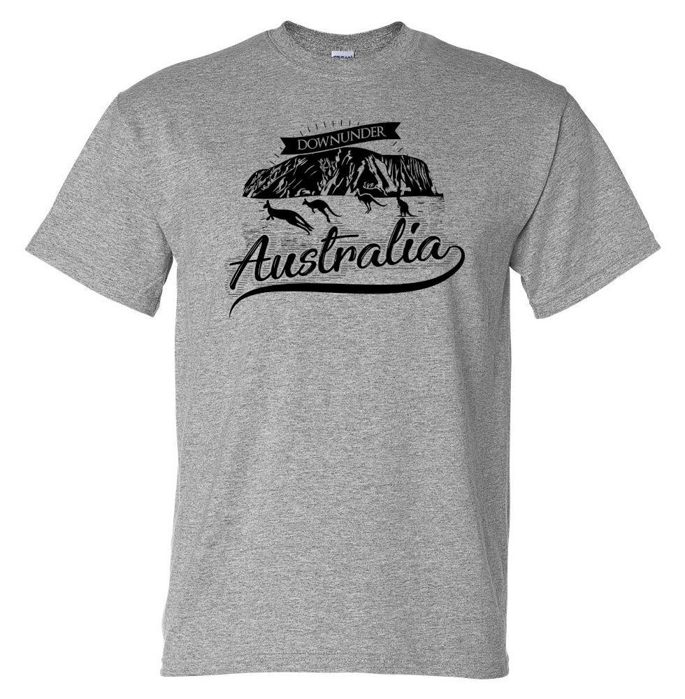 Australia Downunder Uluru T-Shirt (Marle Grey, Regular and Big Sizes)