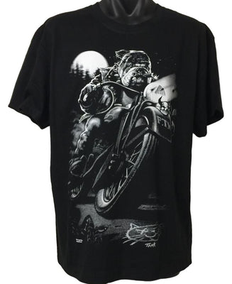 Bulldog Biker T-Shirt (Regular and Big Sizes)