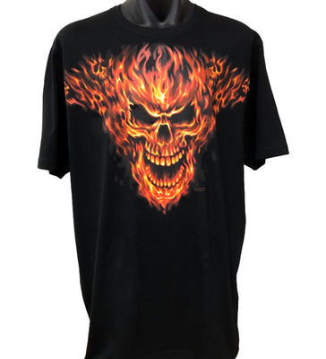 Raging Inferno Flaming Skull T-Shirt (Black, Big Sizes)