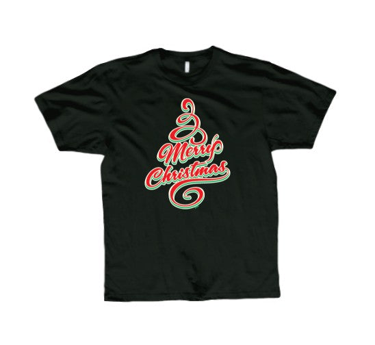 Merry Christmas Tree T-Shirt (Black, Regular and Big Sizes)