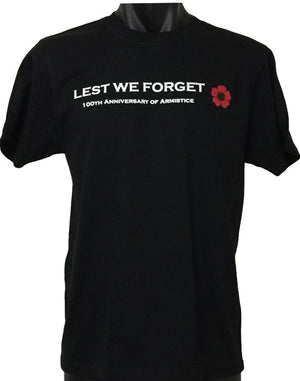 Lest We Forget 100th Anniversary of Armistice Day T-Shirt (Regular and Big Sizes)