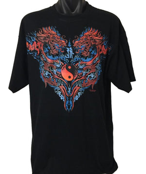 Yin Yang Red Dragon T-Shirt (Regular and Big Sizes)