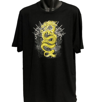 Golden Dragon T-Shirt (Black, Regular and Big Sizes)