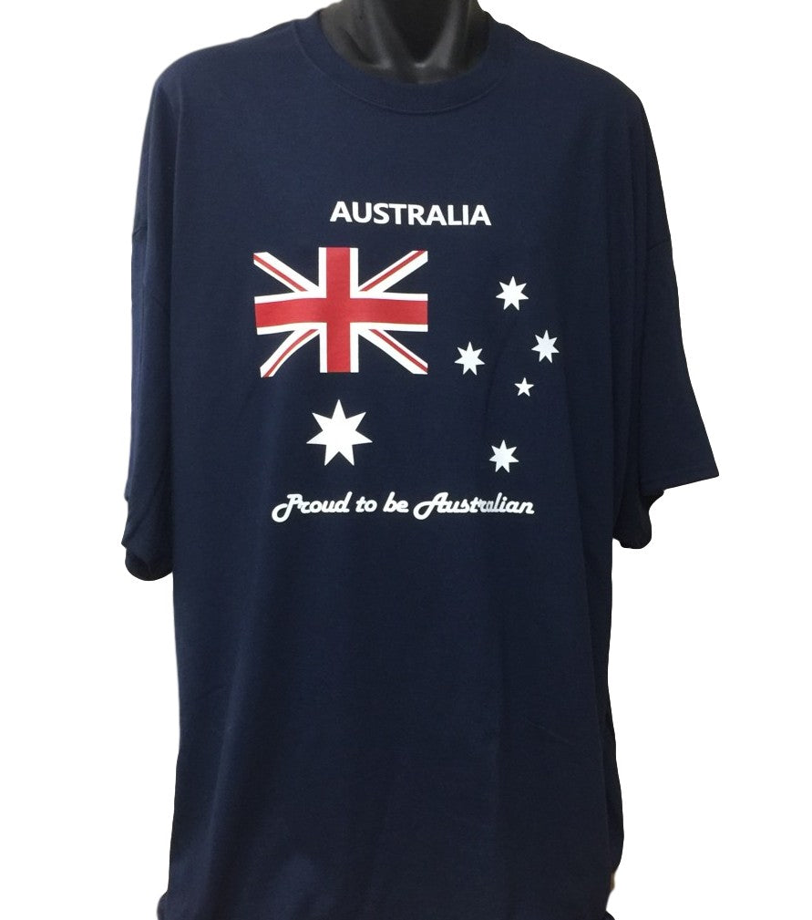 Proud to be Australian T-Shirt (Navy Blue, Regular and Big Sizes)