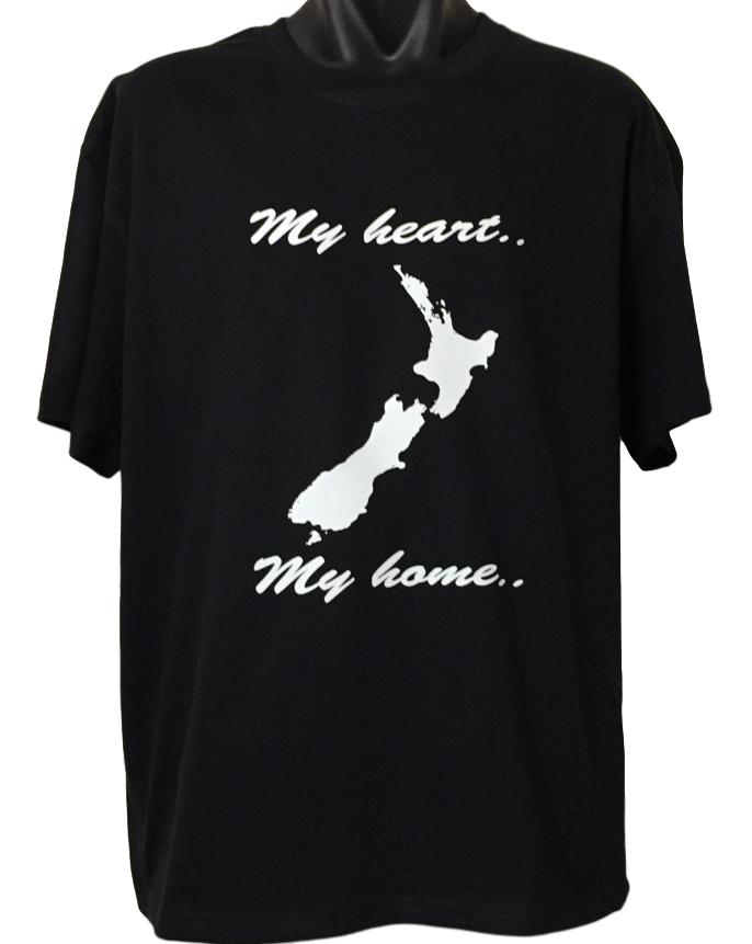 My Heart My Home New Zealand T-Shirt (Regular and Big Sizes)