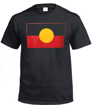 Aboriginal Flag T-Shirt (Black, True Colour Print)