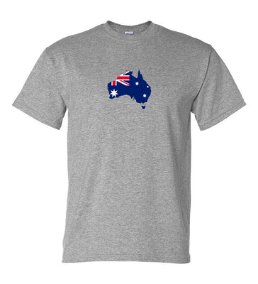 Australian Flag Australia Map Logo T-Shirt (Marle Grey, Regular and Big Sizes)