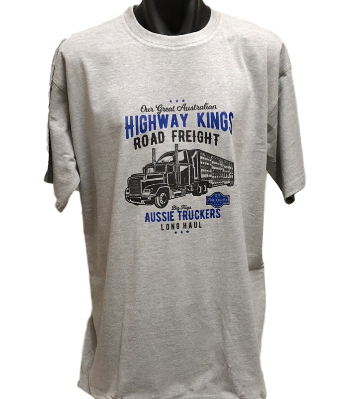 Aussie Highway Kings Trucker T-Shirt (Marle Grey, Regular and Big Sizes)