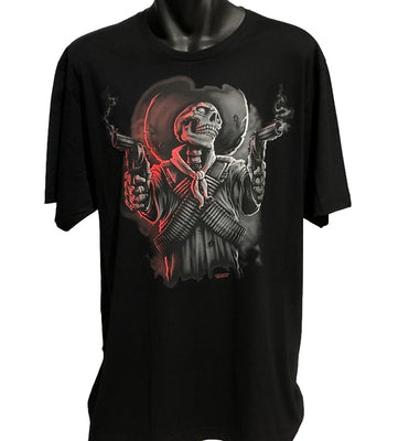 Old West Skeleton Bandit T-Shirt (Black, Regular and Big Sizes)