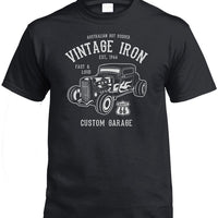 Vintage Iron Hot Rod T-Shirt (Black, Regular and Big Sizes)