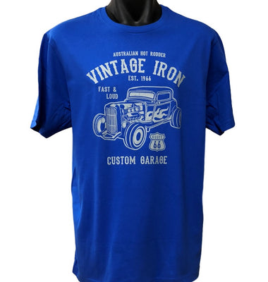 Vintage Iron Hot Rod T-Shirt (Royal Blue, Regular and Big Sizes)
