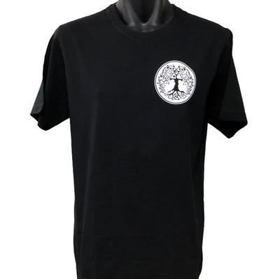 Celtic Tree Left Chest Logo T-Shirt (Black & White, Regular and Big Sizes)