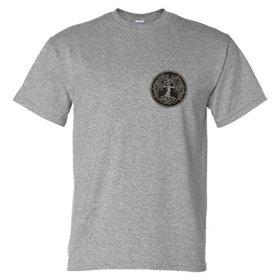Celtic Tree Left Chest Logo T-Shirt (Marle Grey, Regular and Big Sizes)