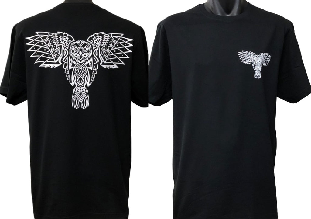 Celtic Owl Double Sided T-Shirt (Black, Regular and Big Sizes)