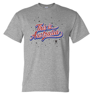 This is Australia (Flies & Spiders) T-Shirt (Marle Grey, Front Print)