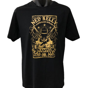 Ned Kelly Wanted Dead or Alive T-Shirt (Black, Gold Print)