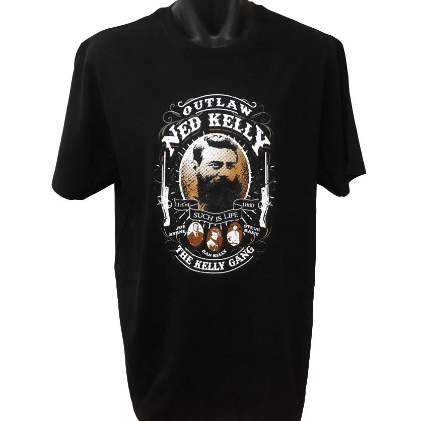 Ned Kelly Outlaw Gang T-Shirt (Black, Regular and Big Sizes)